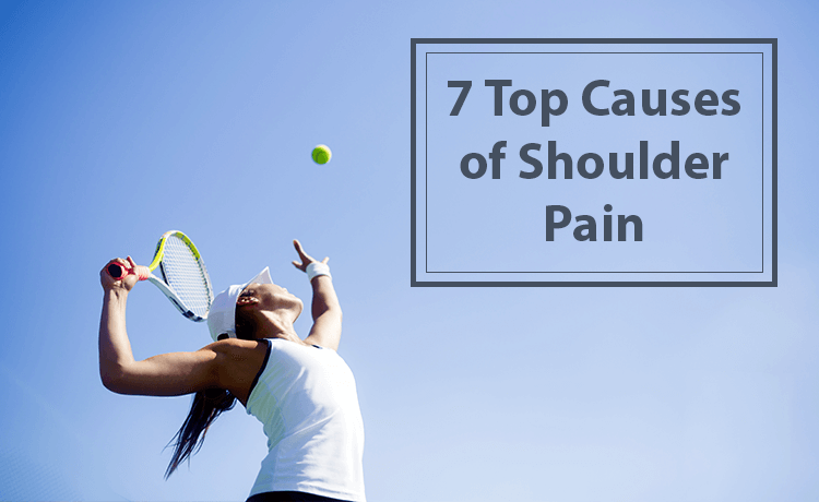 Woman playing tennis experiences shoulder pain.