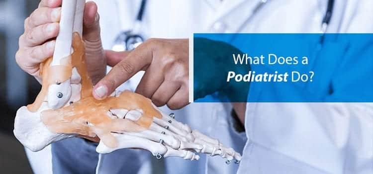 podiatrist pointing to foot skeleton